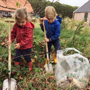 kinderen planten heg